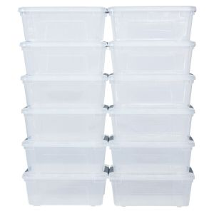 12Pcs Plastic 12L Stackable Container Tote Organiser