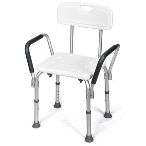 Adjustable Height Bath / Shower Chair with Removable Back and Armrests