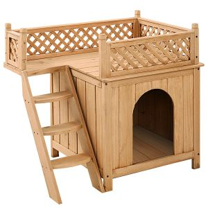 Wooden Dog / Cat House with Raised Roof Balcony & Ladder