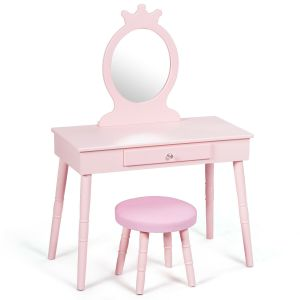 Kid's Vanity Makeup Table Set with Cushioned Stool
