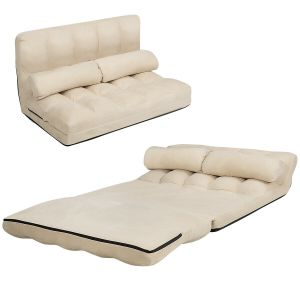 2 in 1 Folding Floor Lazy Sofa Bed with 6 Adjustable Seat Positions and 2 Pillows
