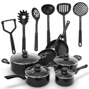16 Piece Cookware and Non-stick Saucepan Set with Lids