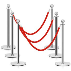 6PCS-1.5M Polished Steel Queue Rope Barrier