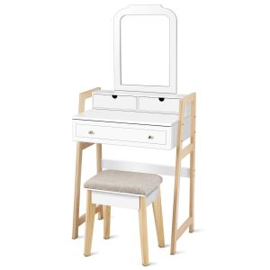 Dressing Table Set with Cushioned Stool & Large Mirror