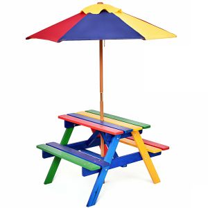 Children's Wooden Picnic Bench with Parasol