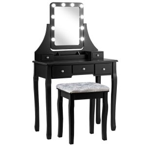 Vanity Mirrored Dressing Table/ Makeup Desk with 5 Drawer and Stool