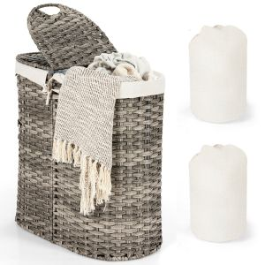 102L Handwoven Laundry Basket with Removable Liner
