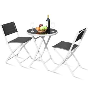 3pcs Patio Bistro Folding Table and Chair Set