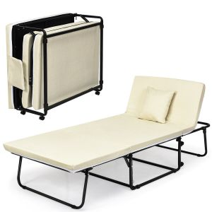 Adjustable 3 in 1 Folding Guest Bed with Wheels and Pillow