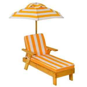 Kid's Portable Cushioned Chaise Lounge with Umbrella