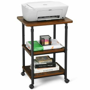 3 Tier Height Adjustable Printer Stand / Wheeled Occasional Table