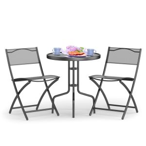 Patio Bistro Set Folding Table and 2 Chairs