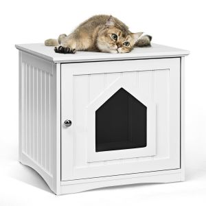 Wooden Cat House Litter Box Enclosure Nightstand
