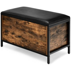 Rustic Storage Ottoman Stool with Padded Seat