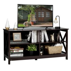 Wooden TV Stand Console Table with 3-Tier Shelf
