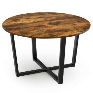 Industrial Round Coffee Table with Adjustable Leg Pads