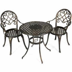 3pcs Aluminium Bistro Table Set with Removable Ice Bucket