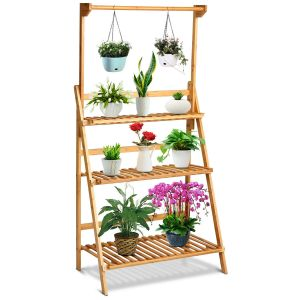 3-Tier Folding Bamboo Plant Stand with Flower Display Bar
