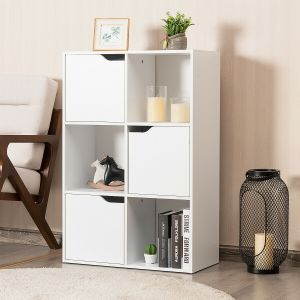 White Modern Open and Closed 6 Cube Shelving Unit
