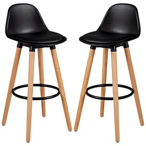 2 x PU Black Leather Bar Stool with Footrest