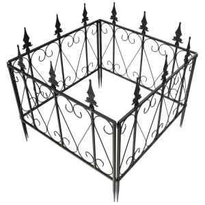 4 x Steel Decorative Attachable Rustproof Garden Fence Sections