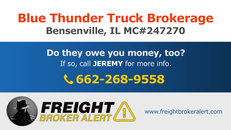 Blue Thunder Truck Brokerage Inc Illinois