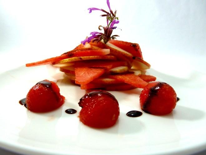 Wassermelone|marinierte Cherrytomaten|Birne