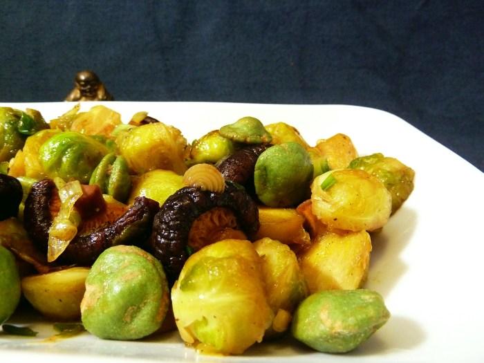 Rosenkohl   Shiitake Pilze Wasabi Erdnüsse