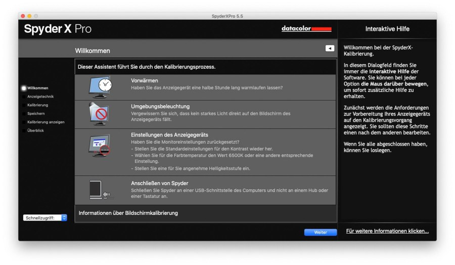 Screenshot Datacolor Spyder X Software