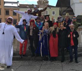 Fasching-in-Freistadt-2019-Vormittag-Hauptplatz-Marienbrunnen