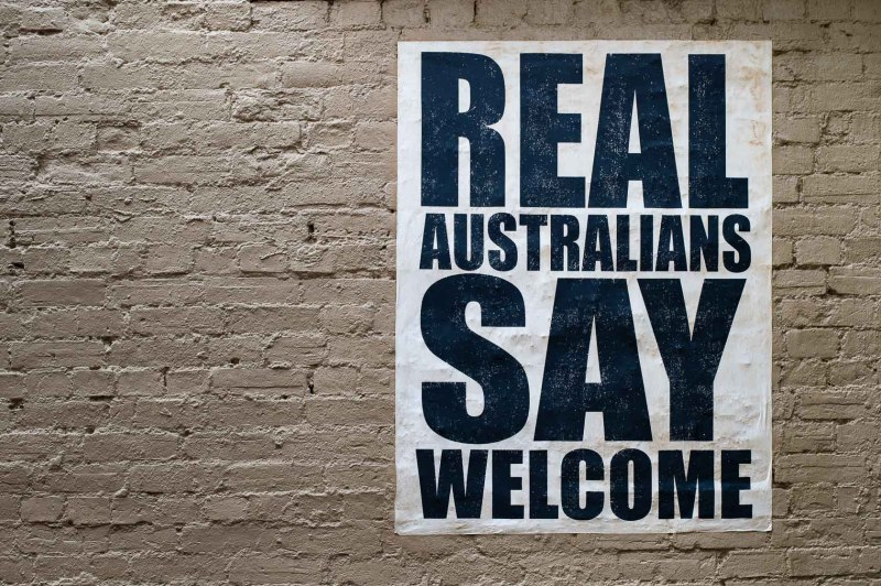 Real Australians say Welcome Plakat
