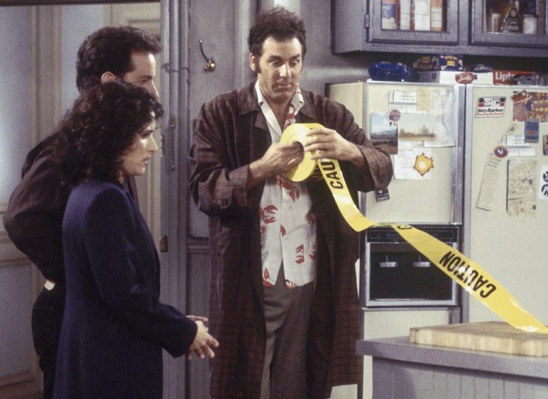 "SEINFELD -- ""The Frogger"" Episode 18 -- Pictured: (l-r) Julia Louis-Dreyfus as Elaine Marie Benes, Jerry Seinfeld as Jerry Seinfeld, Michael Richards as Cosmo Kramer (Photo by Joey Delvalle/NBC/NBCU Photo Bank via Getty Images)"