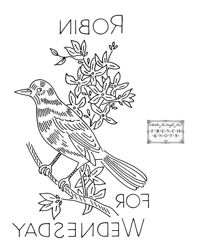 Birds Days of the Week Embroidery Patterns