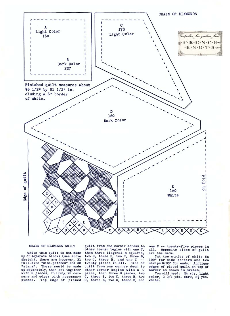 Vintage Quilting Pattern Chain of Diamonds