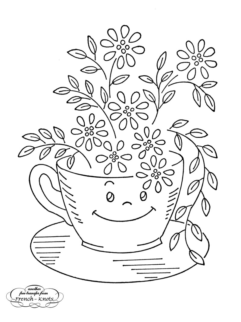 Free kitchen ware hand embroidery transfer patterns