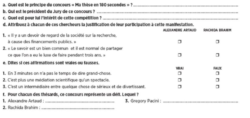 French reading comprehension questions