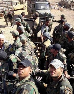 Soldats syriens dans le désert du sud
