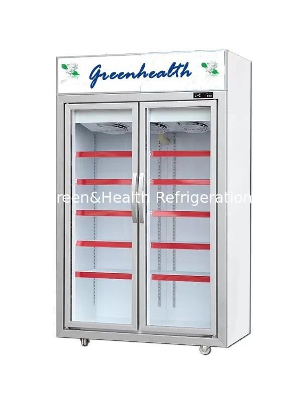 chine congelateur en verre debout libre de porte de 2 portes 5 couches d etagere