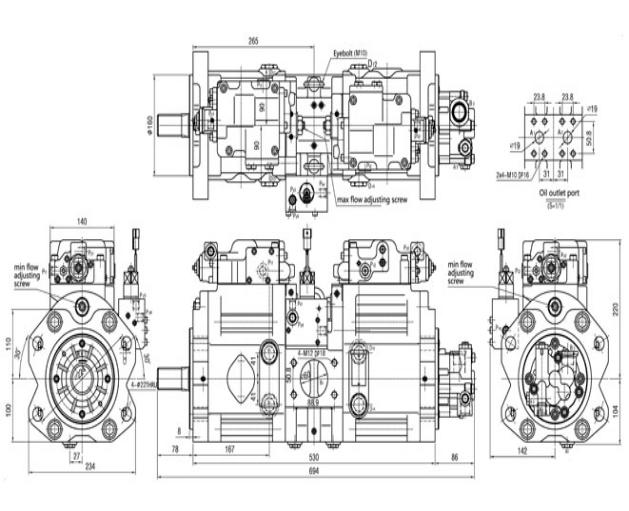 Dents à haute pression de la pompe hydraulique K3V112DT