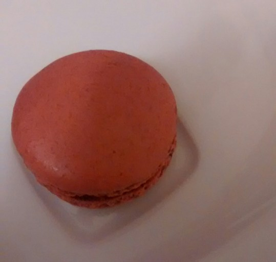 Chocolate macaron from above