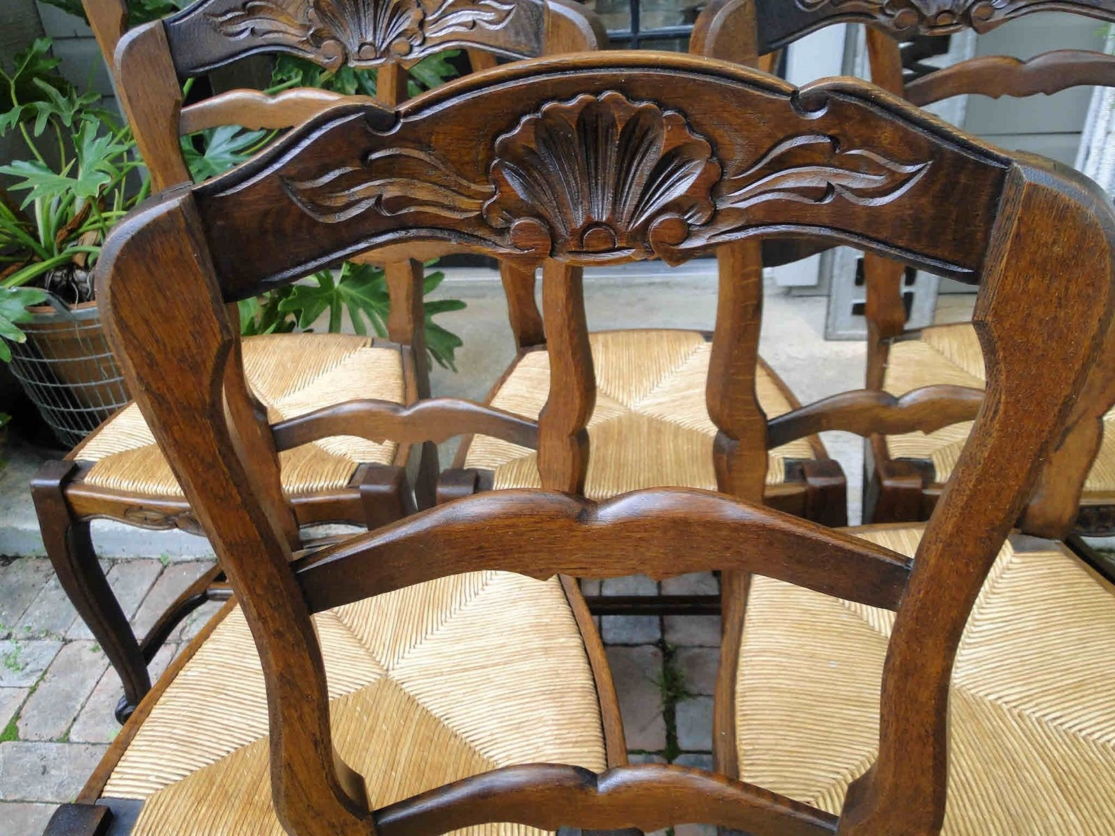 antique ladder back chairs with rush seats ruched chair covers canada french dining tall