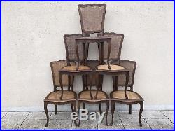 bergere dining chairs oak high chair tray antique french set of 6 cane louis xv style