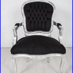 French Louis Chair Nj Rentals Armchair Silver Black Shabby Bedroom Hallway Wooden Frame