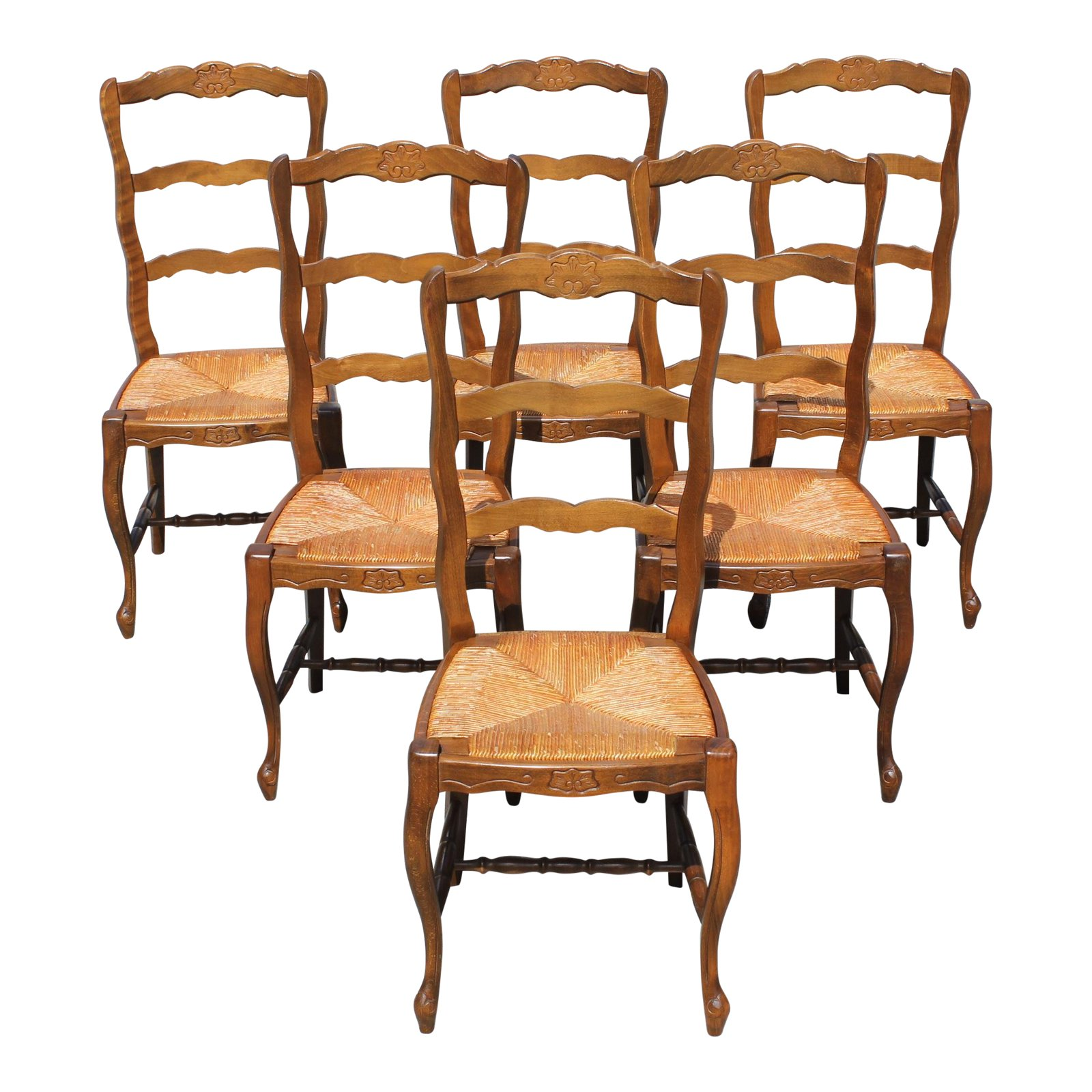 Beautiful Chairs Beautiful Set Of 6 French Country Rush Seat Solid Walnut Dining Chairs
