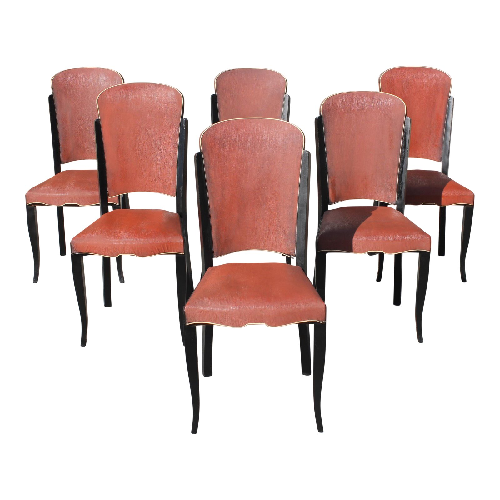 Art Deco Dining Chairs 1940s Vintage French Art Deco Solid Ebony Dining Chairs Set Of 6