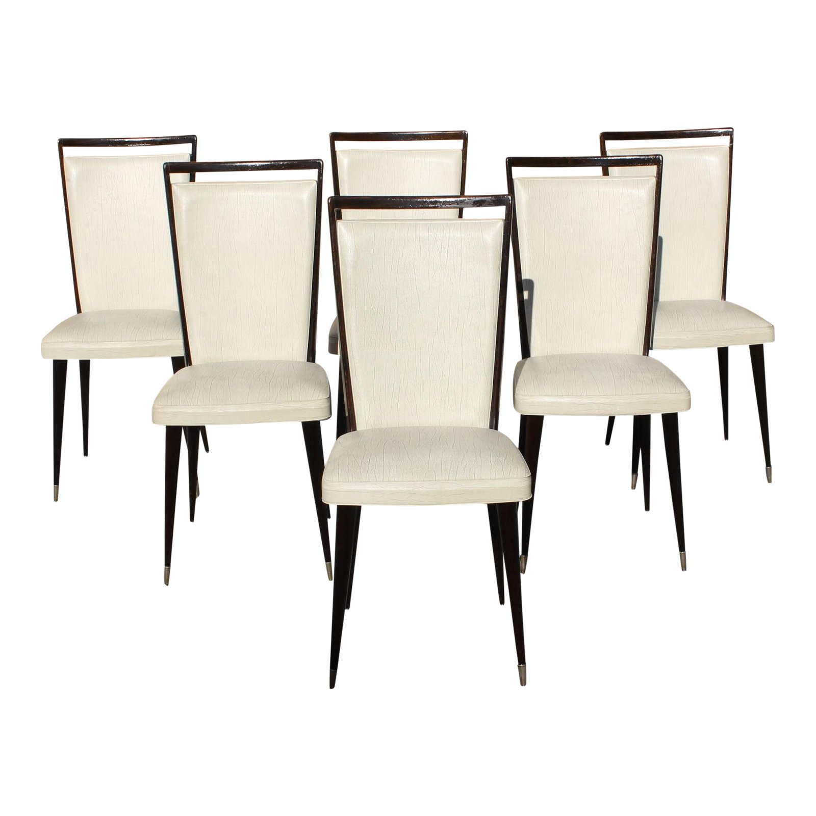Art Deco Dining Chairs Fine Set Of 6 French Art Deco Solid Mahogany Dining Chairs Circa 1940s