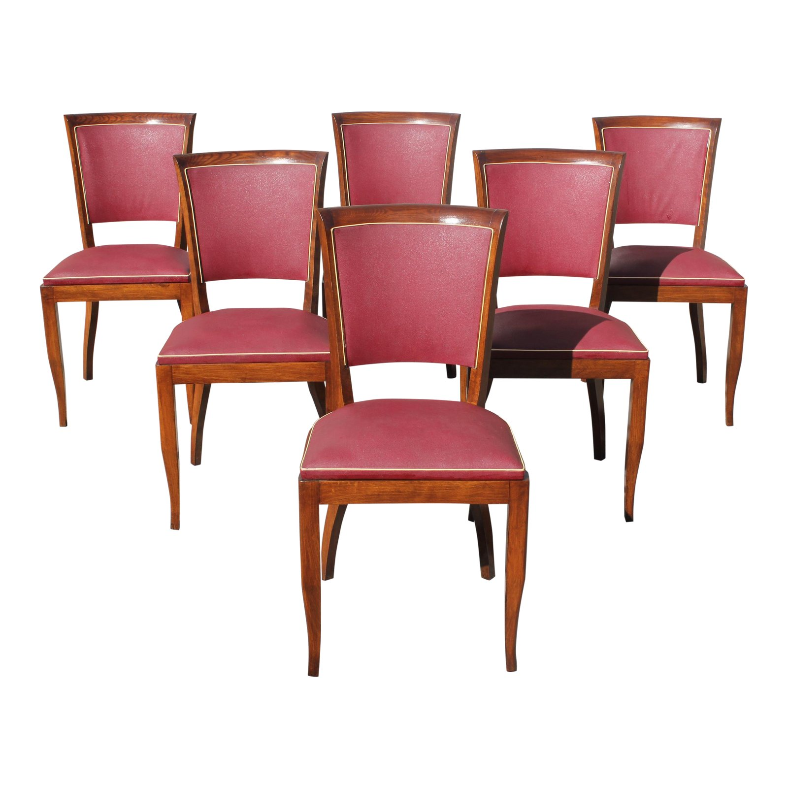 Art Deco Dining Chairs Beautiful Set Of 6 French Art Deco Solid Mahogany Dining Chairs Circa 1940s