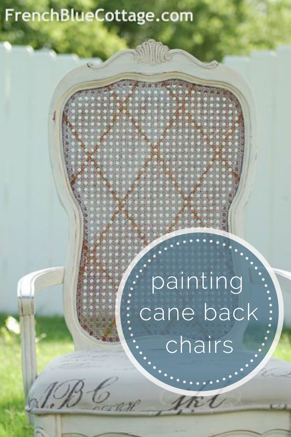 painted pattern on cane back chair