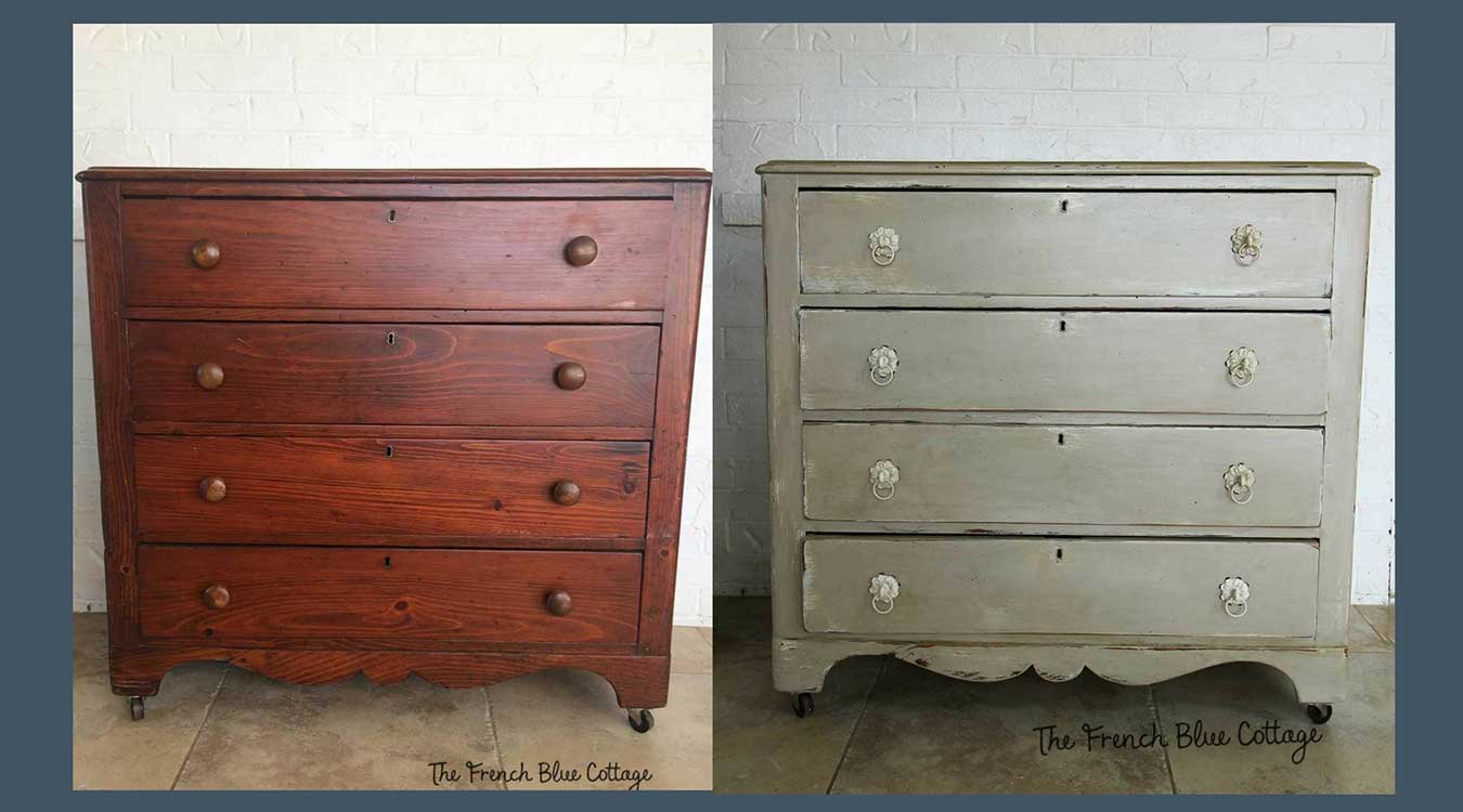 Antiqued dresser before and after.