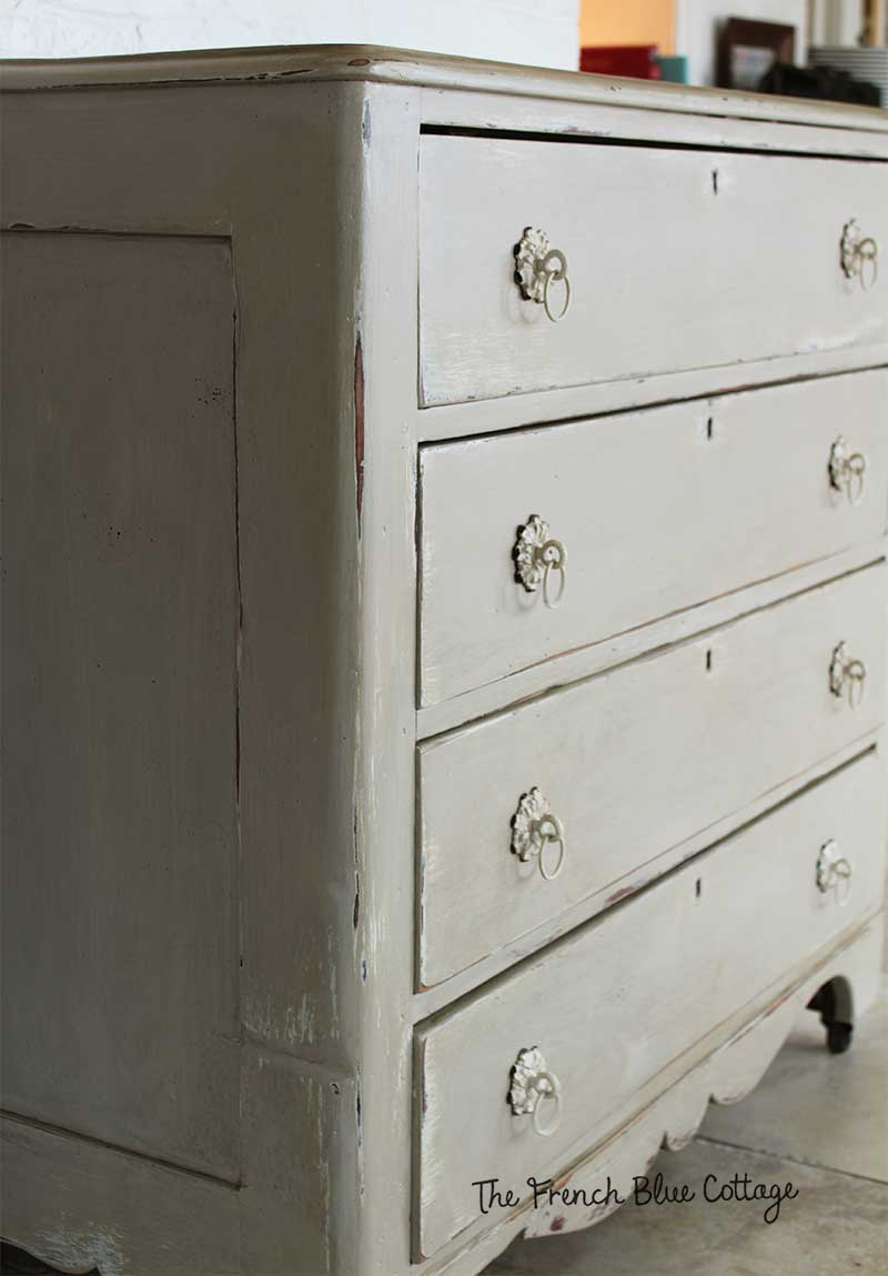 Antique paint finish on a dresser for my entryway.